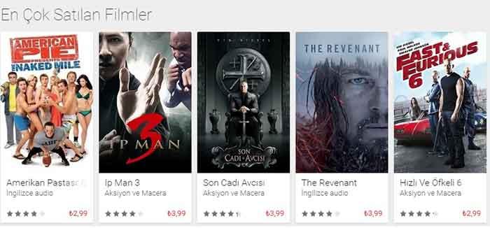 Google Play En Çok Satan 5 Film Listesi